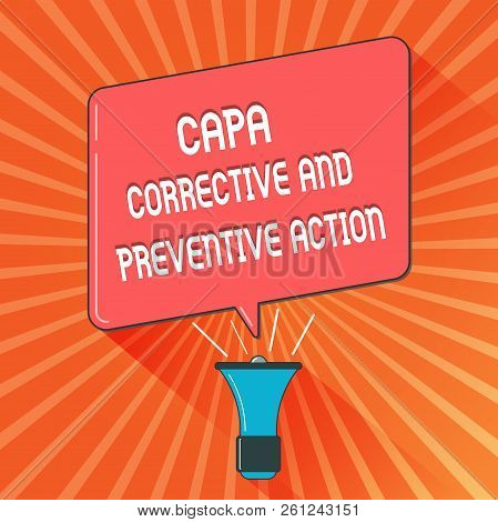 Conceptual Hand Writing Showing Capa Corrective And Preventive Action. Business Photo Showcasing Eli
