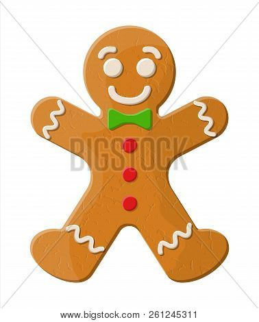 Holiday Gingerbread Man Cookie. Cookie In Shape Of Man With Colored Icing. Happy New Year Decoration