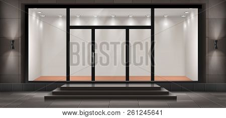 Vector Illustration Of Storefront With Steps And Entrance Door, Glass Illuminated Showcase For Prese