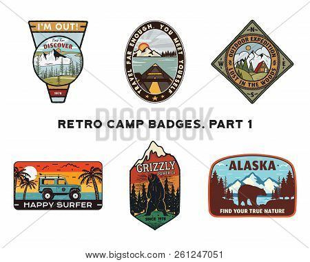 Set Of Retro Wanderlust Logos Emblems. Vintage Hand Drawn Travel Badges. Different Camp, Forest Acti
