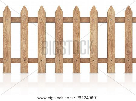 Wooden Fence Isolated On White Background With Clipping Path. 3d Rendering