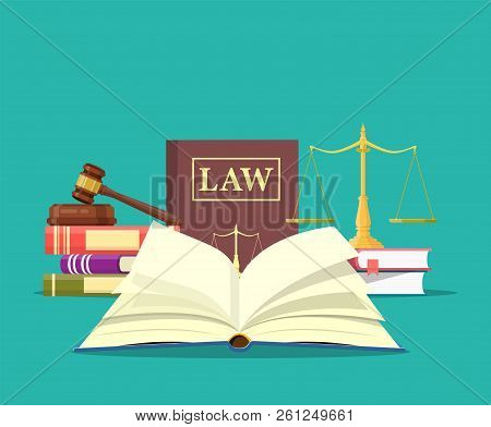 Law And Justice Set Icon, Scales Of Justice, Gavel And Books, Conceptual Justice And Law. Vector Ill