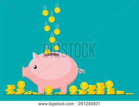 Pink Coin Box. Piggy Bank With Falling Gold Coins. The Concept Of Saving Or Save Money Or Open A Ban