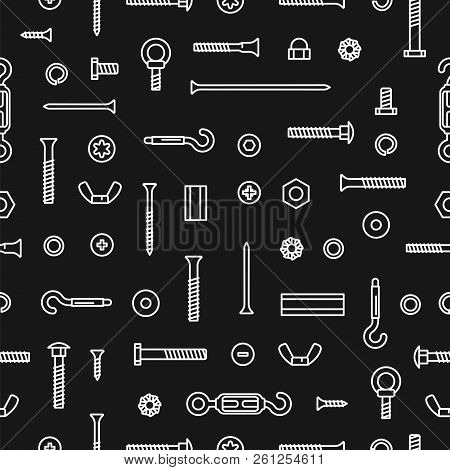 Pattern Construction Hardware, Screws, Bolts, Nuts And Rivets. Seamless Pattern Equipment Stainless,