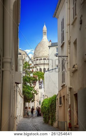 Street of Montmartre in Paris, France Rue Saint Rustique