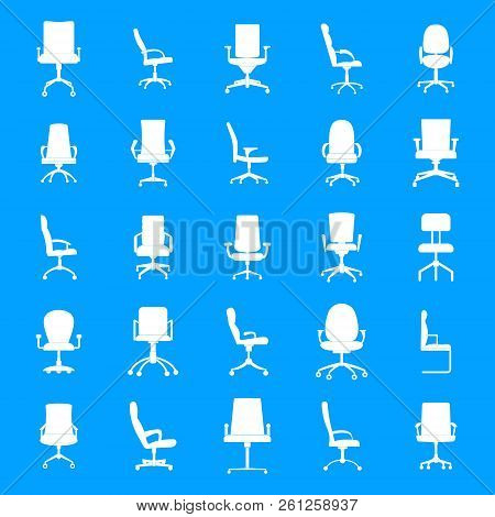 Office Chair Icons Set. Simple Illustration Of 25 Office Chair Icons For Web