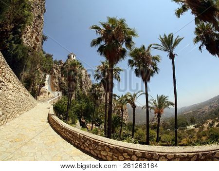 Beautiful View Of The Road To The Guadalest Castle. Popular Tourist Attraction In The Province Of Al