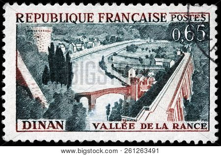 Luga, Russia - September 12, 2018: A Stamp Printed By France Shows Beautiful View Of The Rance Valle