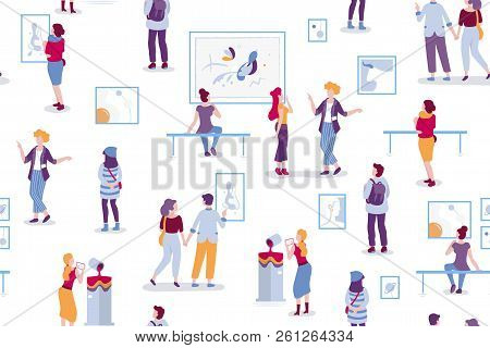 Art Gallery Seamless Pattern With Visitors Looking At Paintings Vector Flat Illustration. People At