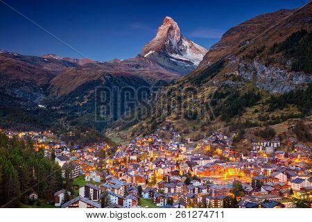 Zermatt. Image Of Iconic Village Of Zermatt, Switzerland With Matterhorn In The Background During Tw