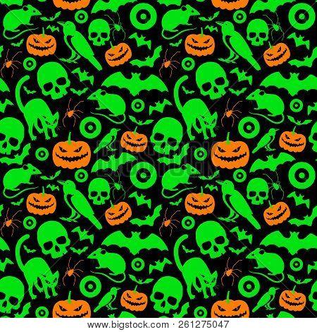 Halloween Symbols Seamless Bright Pattern With Orange And Green Cartoon Images Of Eyeball Spider Pum