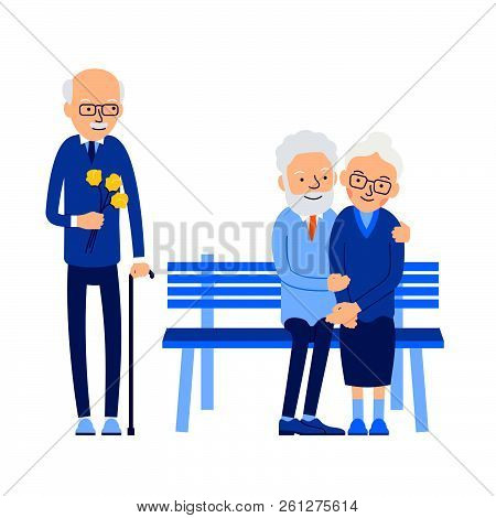 Betrayal. Old Man With Flowers Came On Date With His Beloved. His Woman Sits On Bench With Another M