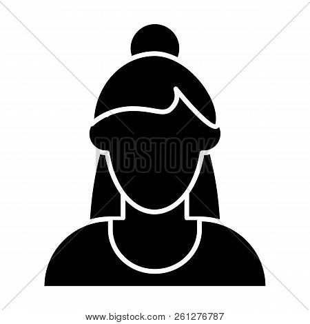Girl Avatar With Half Raised Hair Solid Icon. Woman Faceless Vector Illustration Isolated On White.