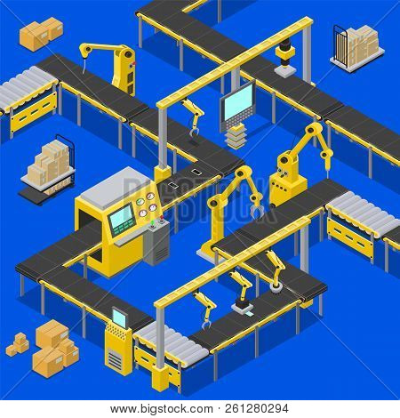 Computers And Production Line, Boxes Creation, Screens With Pointers Sowing Information About Proces