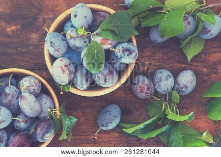 Fresh Plums With Green Leaves In Wooden Pot On The Dark Wooden Table. Top View. Toned.