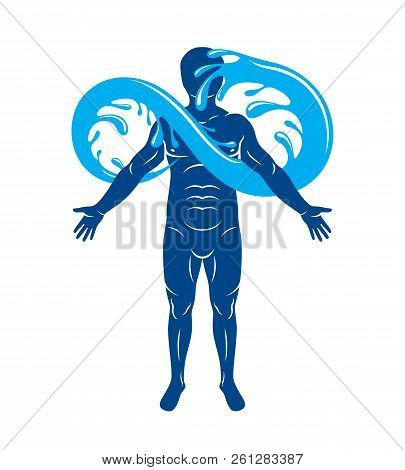 Vector graphic illustration of muscular human, mystic Poseidon composed with limitless symbol created from water wave. Continuous harmony of human and nature. poster