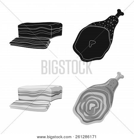 Isolated Object Of Meat And Ham Logo. Set Of Meat And Cooking Stock Vector Illustration.