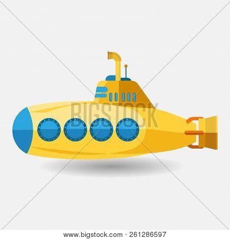 Yellow Submarine With Periscope, Flat Design. Yellow Submarine With Periscope, Flat Design. Cartoon
