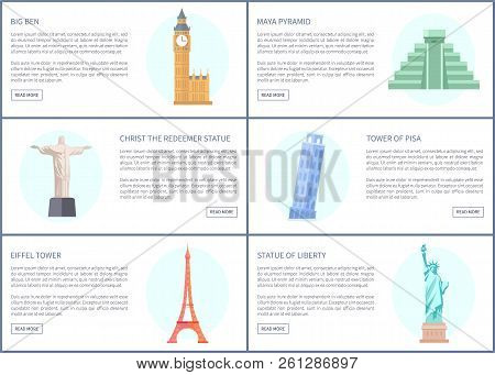 Big Ben And Maya Pyramid Web Pages Set, Christ The Redeemer, Statue Of Liberty In United States, Hig