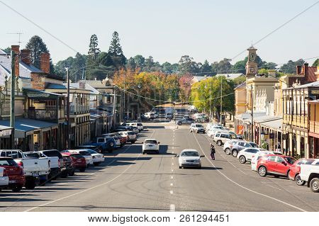 Beechworth, Australia - April 30, 2018: View Along Ford Street, The Main Commercial Street In Centra