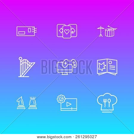 Vector Illustration Of 9 Entertainment Icons Line Style. Editable Set Of Video Maker, Harp, Drums An