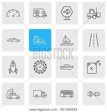 Vector Illustration Of 16 Transportation Icons Line Style. Editable Set Of Road Sign, Bulldozer, Cam