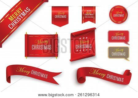 Merry Christmas Scroll Red. Realistic Paper Banners. Banner With A Congratulation. Vector Illustrati