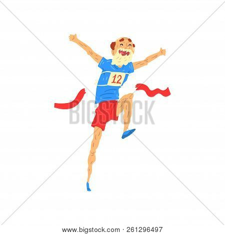 Senior Man Running, Elderly Man Taking Part In Marathon, Healthy Active Lifestyle Colorful Character