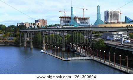 View Of Portland, Oregon With Highway By The Willamette River