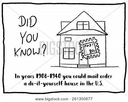 Trivia Fact Series - Fun Cartoon Doodle Newspaper Comic Strip Concept. Mail Order Home.