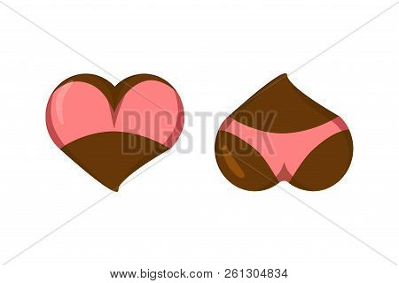 Stylized Heart Icons With Underwear, Ass In Bikini And Boobs In Bra. Good For Valentine S Day Love G