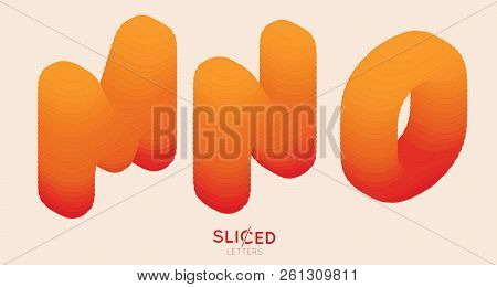 Abstract Paper Cut Sliced Letters With Color Gradient. Paper Sclices With Soft Shadow Form 3d Letter