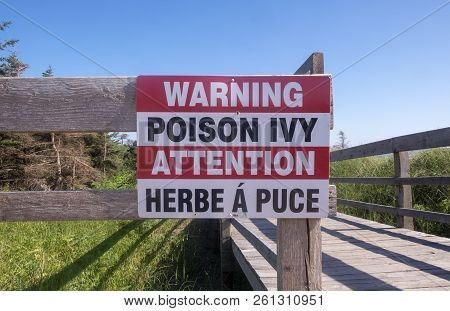 Poison Ivy Warning Sign At Cedar Dunes Provincial Park Prince Edward Island Canada