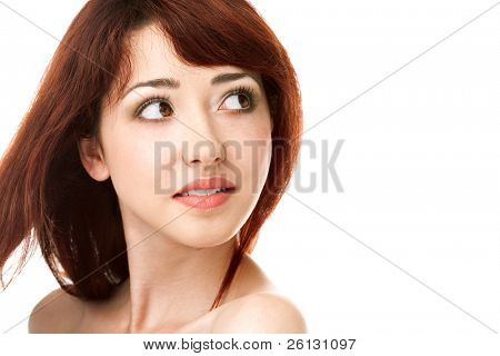 beauty woman face on white background
