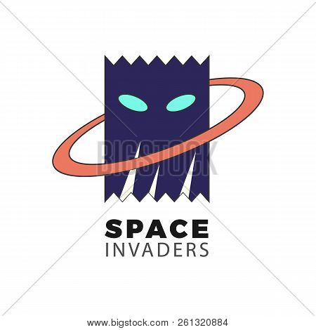 Space Invader Vector Logo. Flat Illustration Of An Alien Head Silhouette. Isolated On White Backgrou