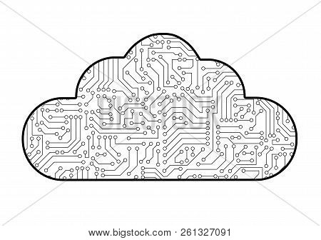 Cloud Computing Computer Technology Icon With Circuit Board Pattern Texture Isolated On White. High-
