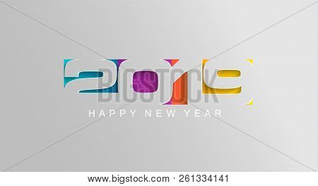 Happy 2019 New Year Card In Paper Style For Your Seasonal Holidays Flyers, Greetings And Invitations