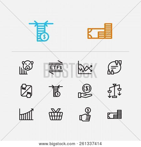 Trading Icons Set. Invest Money And Trading Icons With Rally, Etfs And Trading Volume. Set Of Corpor