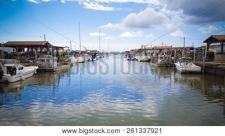 View At High Tide Of The Ostreicole Port Of Andernos On The Arcacchon Basin In France