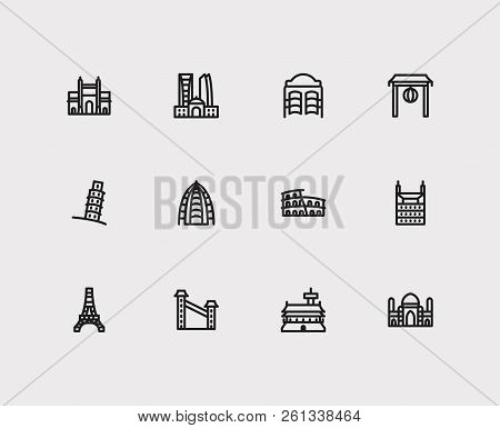 Travel icons set: mumbAI, rome, texas and china, dubAI, saloon set popular traveling cities with america vector icon illustration for app web mobile UI logo desing. poster