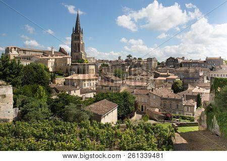 Large Top View French Village Saint Emilion Unesco World Heritage Site Near Bordeaux France