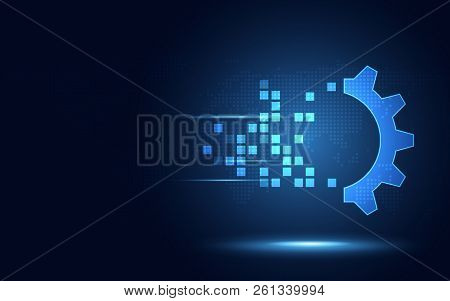 Futuristic Blue Gear Digital Transformation Abstract Technology Background. Artificial Intelligence