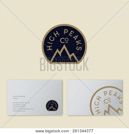 High Peaks Company Logo. Mountain Travel Agency Emblem. Mountain Peaks And Letters. Emblem For Alpin