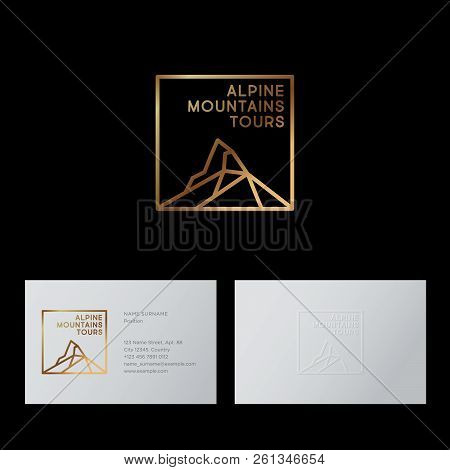 Alpine Tours Company Logo. Mountain Travel Agency Emblem. Mountain Peaks And Letters. Emblem For Alp