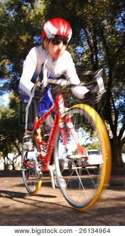 DAVIS, CA - February 7, 2009: University of California - Davis thiathlon team member racing