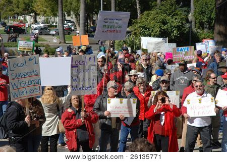 SACRAMENTO, CALIFORNIA - FEBRUARY 26: Labor union supporters gather at the California State Capitol for the