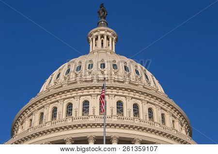 Dome Of The United States Capitol Building In Washington D.c., The Meeting Place For Congress, And T