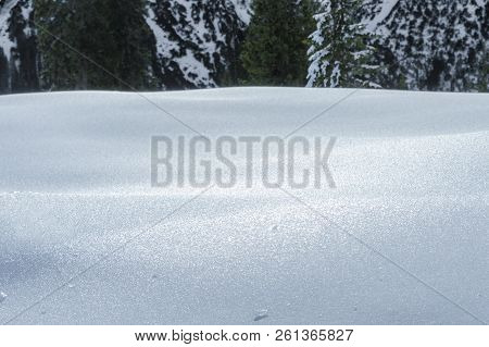 Thick Layer Of Snow And Ice, Fir Trees In The Background, In The Alps Mountains, On A Sunny Day Of D