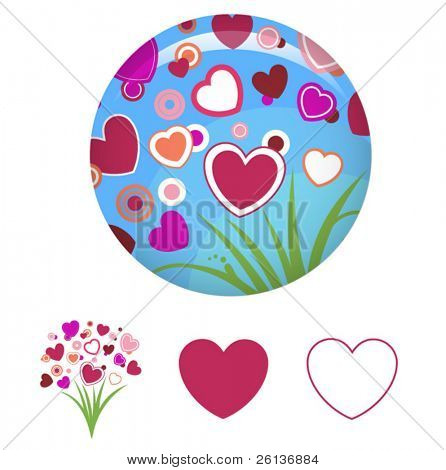 heart glossy pin orb