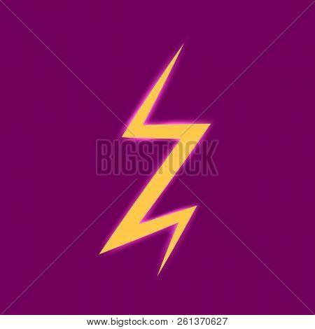 Flat Lightning Bolt Icon. Lighting Strike. Vector Illustration